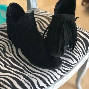 Black Fringe Booties